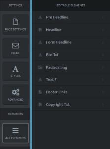 Click Funnels alle Seitenelemente