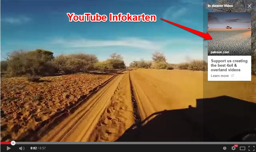 Beispiel einer YouTube Infokarte